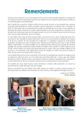 Remerciements Michèle Bourzat