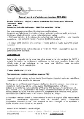 rapport moral et d'activités 2020 AMBAL